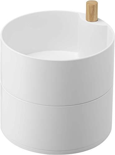 山崎実業(Yamazaki) アクセサリートレー 深型 ホワイト 約W14.5XD14.5XH15.5cm トスカ ジュエリーボックス アクセサリー収納 5313