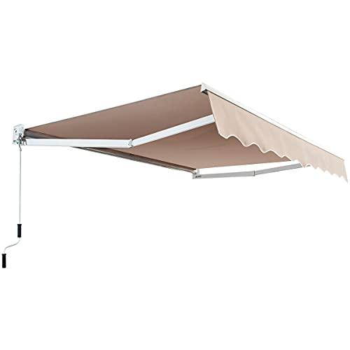 COSTWAY Auvent Rétractable Manuel, Angle Ajustable 40°-100° sans Perçage en Aluminium et Tissu Teint en Fil pour Fenêtre,Terrasse, Balcon ou Jardin Installation Rapide Gris (295x250CM, Beige)