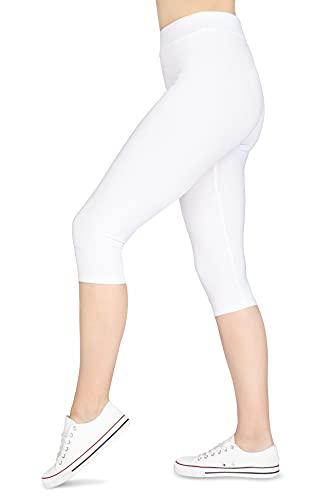 looksy Pantacourt 3/4 en Coton pour Femme, Pantalon Court de Yoga, Grande Taille - Blanc - L
