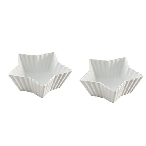 Plato de Salsa 5.14oz en Forma de Estrella de cerámica de cerámica de Sushi Bowls Salsa Plato Platos Platos Aperitivos Platos Que sirven Platos Platos Cuencos (Paquete de 2)