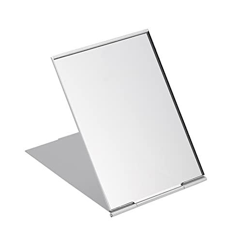 YSJJZDE Espejo para maquillarse 11.5 * 8cm Espejo Plegable portátil Plegable Espejo de Maquillaje de Afeitado de Afeitado (Plata) (Color : Silver)