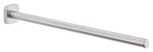 tesa 40452 Estetic-Toallero con cinta adhesiva, aspecto de acero inoxidable, un brazo, 50 mm x 50 mm x 400 mm, Acabado mate