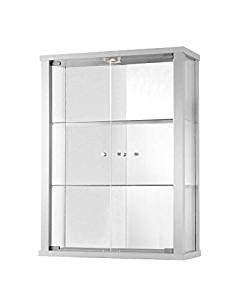 K-Möbel Glasvitrine in Weiss (80x60x25 cm) mit 2 höhenverstellbaren Glasböden aus ESG, LED und Spiegel; beleuchet; perfekt für Sammler;