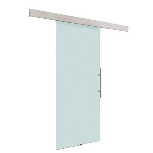 HOMCOM Glasschiebetür Schiebetür Tür Zimmertür mit Griffstange einseitig satiniert 2050x 900 mm