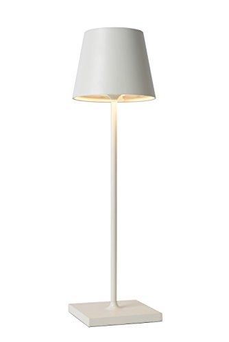 Lucide JUSTIN - Tischlampe Außen - Ø 11 cm - LED - 1x2,2W 3000K - IP54 - Mit USB-Ladepunkt - Weiß