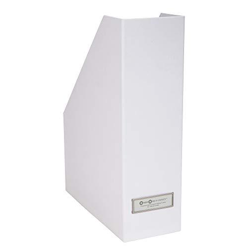 Bigso Box of Sweden Stehsammler mit Beschriftungsetikett – Zeitschriftensammler aus Faserplatte und Papier – Stehordner für Akten, Dokumente oder Zeitschriften – weiß