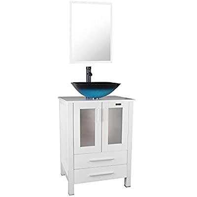 """eclife 24"""" Bathroom Vanity Sink Combo White Cabinet Turquoise Square Tempered Glass Vessel Sink & 1.5 GPM Water Save ORB Faucet Solid Brass Pop Up Drain,with Mirror(Turquoise Square Sink A10B02W)"""