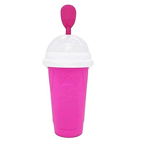 Vaso para Hacer Granizado,Tazas Frozen,Lanbowo Slushy Ice Cream Maker Squeeze Peasy Slush Taza de Enfriamiento Rápido Botellas de Batido,Pink
