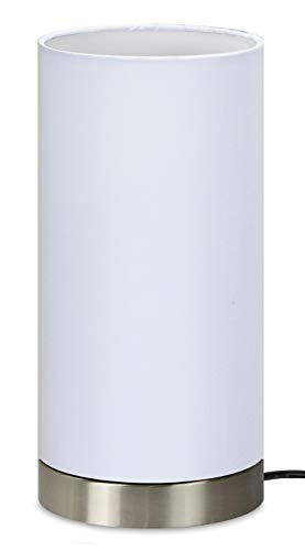 "Trango diseño Lámpara de mesa, mesilla de noche, lámpara de escritorio TG2018-09W I""WHITE"" con pantalla de tela en blanco Ø 120 mm, altura: 255 mm"