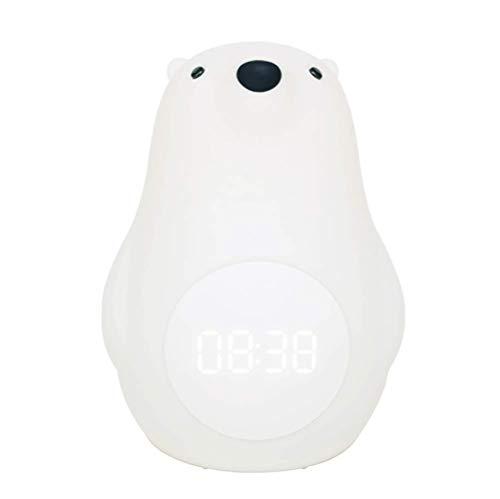 HLGQ Ours Blanc Big Réveil Conduit, avec La Lumière Pat Silicone, Lampe USB Petite Table Multi-Fonctions, Chambre d'enfants De Lumière De Nuit, 2-10 Ans Jouets pour Enfants