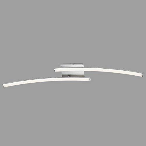 Briloner Leuchten LED Deckenleuchte, Deckenlampe 2-flammig, 1.400 Lumen, 3.000 Kelvin (warmweiß), 18 Watt, Aluminiumfarbig, 780x100x107mm (LxBxH)
