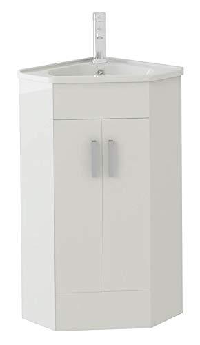 white compact corner vanity unit bathroom furniture sink. Black Bedroom Furniture Sets. Home Design Ideas