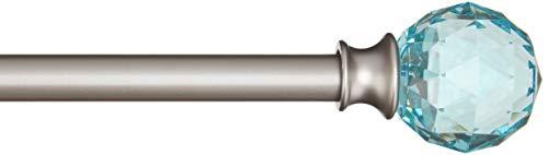 Amazon Basics - Dekorative Gardinenstange, 1,6 cm, Facettierter Ball-Knauf - 122 cm, Türkis-Blau