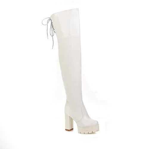Baby rabbit-SS Winter Rundkopf wasserdichte Plattform dick mit Super High Heel-Trägern elastische Overknee-Stiefel Größe Stiefel Damen,Weiß,38