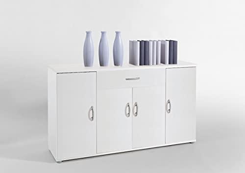 Sideboard Kommode Anrichte Mehrzweckschrank Highboard Schrank Lilly 13 in weiß matt mit 4 Türen, 1 Schubkasten und 3 Regalböden, 117 cm breit