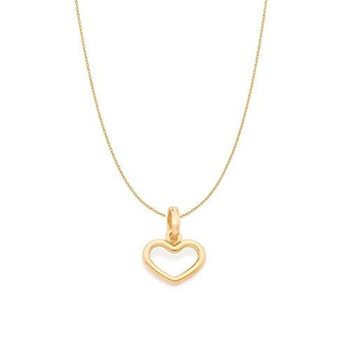 Colar Rommanel Banhado Ouro Pingente Mini Coração Vazado