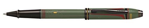 Cross Townsend Rollerball Star Wars Boda Fett (Swarovski -Kristall in der Kappe, Schreibfarbe: schwarz) oliv-grün
