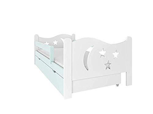 NeedSleep® Fall Protection Lit bébé Complet 140x80 160x80 Sommier à Lattes Tiroir Et Enfants à partir de 2 Ans | Girl Boy I Lit Fonctionnel pour Chambre d'enfant (140x80, Menthe)