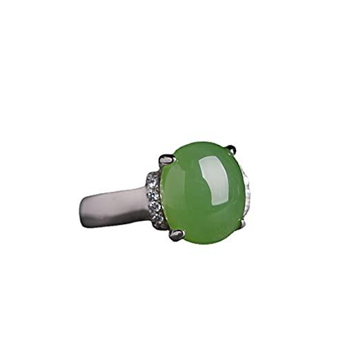 Yisss Anillo Verde Natural de Jade de Jade Verde Verde Fresco, Apertura Ajustable, Plata de Ley S925, Anillo de inspiración de Estilo artístico, Anillo de Compromiso