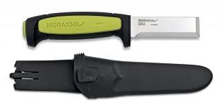 17438 - Cuchillo MORAKNIV modelo CHISEL. Mango de ABS verde y negro. Hoja: 7.5 cm. Acero Carbono Funda de ABS. Herramienta para Caza, Pesca, Camping, Outdoor, Supervivencia y Bushcraft