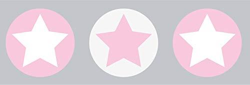 lovely label Bordüre selbstklebend STERNE GRAU/ROSA - Wandbordüre Kinderzimmer / Babyzimmer mit Sternen - Wandtattoo Schlafzimmer Mädchen & Junge – Wanddeko Baby / Kinder