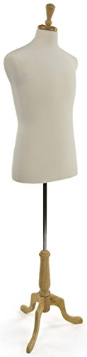 Displays2go Male Mannequin Dress Form, Size 38, with Natural Tripod Base, Adjustable Height (White)