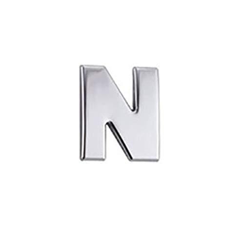 ACEHE Letra N Etiqueta engomada del Coche de la Letra Logotipo del Coche DIY Alfanumérico Metal Pegatinas corporales Palabra Mark Tail Plata (Plata)
