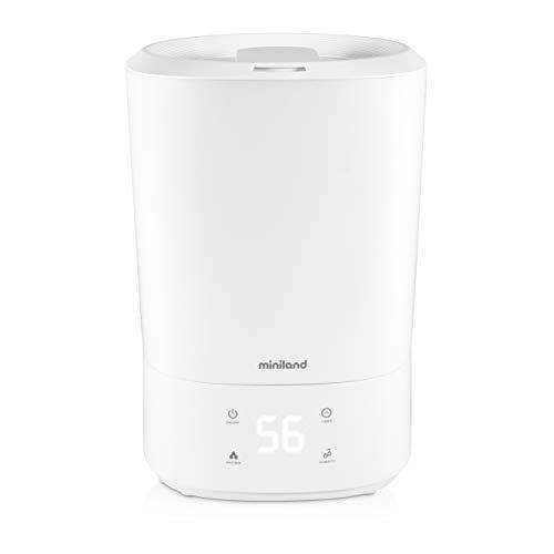 Miniland - Humitop Connect - Humidificador Ultrasónico de llenado superior con gran autonomía (35h), luz de compañía, aromaterapia y control de funciones desde el móvil o PC.