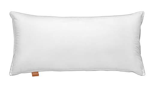 sleepling 197238 Dreikammerkissen Daunenkissen, Außen 90% Daune / 10% Federn, Innen: 70% Gänsefederchen / 30% Luftzellenstäbchen, Hülle aus 100% Baumwolle, 40 x 80 cm, weiß