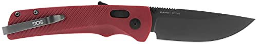 SOG Flash AT Folding Pocket Knife-Ambidextrous Locking Design, One-Handed Open Emergency Knife with 3.45 Inch Cyro D2 Steel Blade-Garnet Red (11-18-07-57)