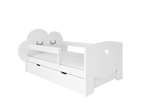 NeedSleep® - Cama infantil completa (80 x 140 cm), protección anticaídas, 80 x 140 cm, 80 x 160 cm, somier de láminas, cajón, para niños a partir de 2 años, para niñas y jóvenes, Montessori