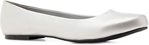 Elegante Ballerinas in silberfarbener Leder-Optik. Gr. 45 EU ( Soft Silber )