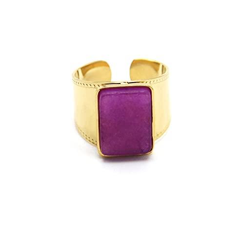 Oh My Shop BG1404 - Anillo de acero dorado con piedra rectangular malva