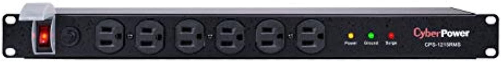 CyberPower CPS1215RMS Surge Protector, 120V/15A, 12 Outlets, 15ft Power Cord, 1U Rackmount Black