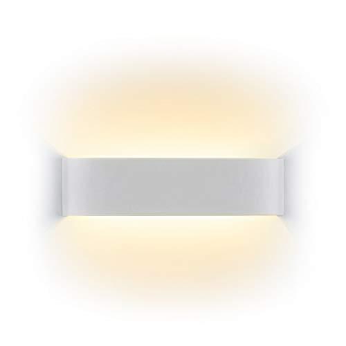 Lámpara de pared Interior 12W Moderna Apliques de Pared Blanco Cálido perfecto Para Lámpara de Decoración Pasillo Dormitorio Baño Pasillo Escaleras Iluminación de Pared Luz de Noche, Blanco Cálido