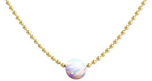 Dainty Necklace   Opal Necklace Choker Necklace   14k Gold Dipped Ball Chain Single Fire Opal Necklaces For Women   Celebrity Approved, Gold Necklace Opal Jewelry for Everyday Look