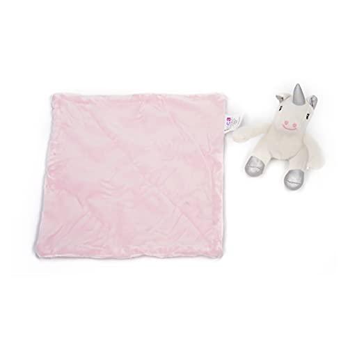 INCA. Dou dou bebé. Mantita de apego bebé. Extra de suavidad. Peluche de Unicornio de Color Rosa. Medida del doudou para bebé: Manta 16 cm x 16 cm x 6 cm