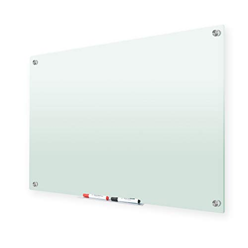 Glass Whiteboard,47 x 35 Inches Frosted Glass Dry Erase Board, Non-Magnetic, Frosted Surface, Frameless, Includes Markers, Marker Tray, Eraser for Wall, Office, Home, School