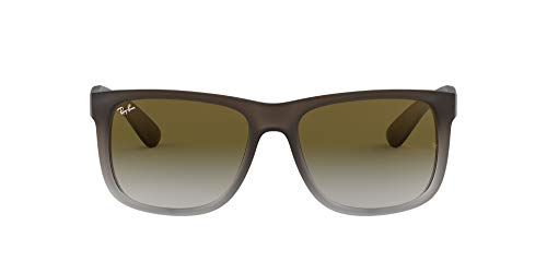 Ray-Ban Justin RB4165 Non-Polarized- Occhiali da Sole Unisex, Marrone (struttura: marrone, lenti: gradiente verde 854 / 7Z), 54 mm