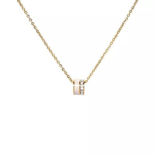 QiuYueShangMao Colgante de Collar Collar de Acero Inoxidable de Cristal de Piedra de Concha de Lujo para Mujer Exquisita Cadena de clavícula Colgante de joyería Regalo para Ella