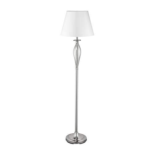 Relaxdays Schirmlampe, dekorative Stehlampe mit Schalter, antikes Design, E27-Fassung, Dekolampe, HD 158 x 39 cm, silber