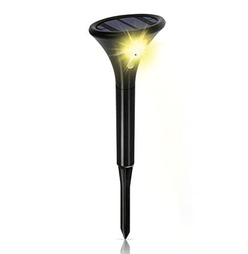 Justn Foco solar con detector de movimiento muy luminoso, 2 modos IP65 impermeable, interruptor automático automático para patio, camino (amarillo, 1 pieza)