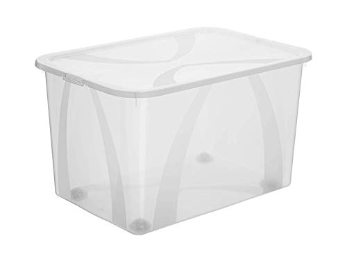 Rotho Arco, Caja de almacenamiento de 50l con tapa y ruedas, Plástico PP sin BPA, transparente, 50l 57.1 x 39.2 x 33.5 cm