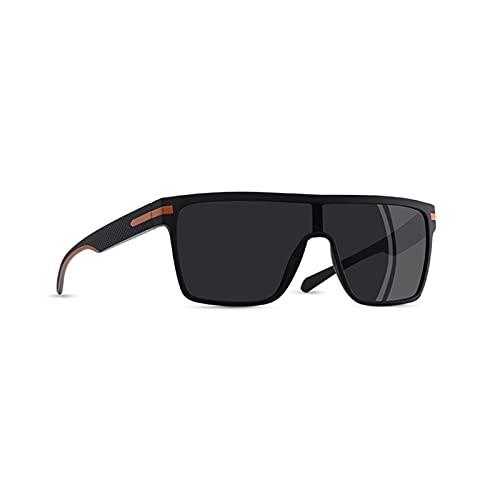 aolongwl Gafas De Sol para Hombres Gafas de Sol polarizadas Hombres de Moda con Marco Flexible de Gran tamaño Cuadrado de Gafas de Sol Macho para Conducir Gafas (Color : C3Black Orange)