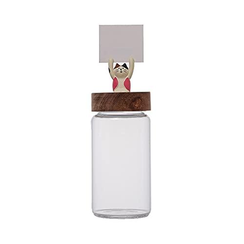 LYUN Tarro Tarjetas De Vidrio Transparente con Tapas De Madera Herméticas Cute Cat Spice Spice Botella Nueces Snack Candy Jar Alimentación Tarro de Almacenamiento (Color : 1pcs 500ml A)