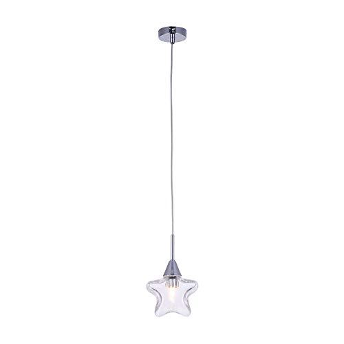 Suspension pour les enfants, 1 Lampe, Style moderne, Armature en Métal couleur chrome, abat-jour de verre en forme d`etoile, 1 ampoule, excl. 1 G9 28W 220-240V