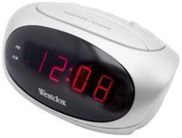 Westclox 70044B Super Loud LED Electric Alarm Clock White