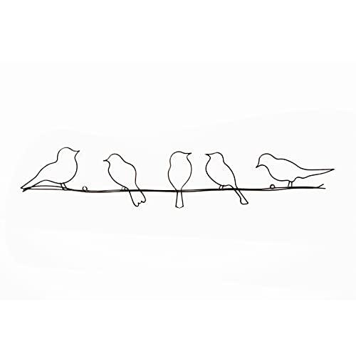Art For The Home Pájaros en un alambre de metal para pared