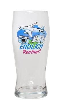 Gagartikel Glas mit Aufschrift Endlich Rentner in Geschenkkarton schönes Geschenk zur Rentnerfeier Rentnerglas Rentnerbierglas Bierglas für Rentner