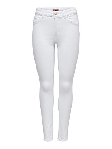 ONLY NOS Damen ONLBLUSH LIFE MID SK RAW ANK REA0730NOOS Skinny Jeans, White, S / 30L